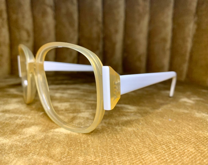 Vintage 70's White and Clear Geometric Silhouette Glasses Frames