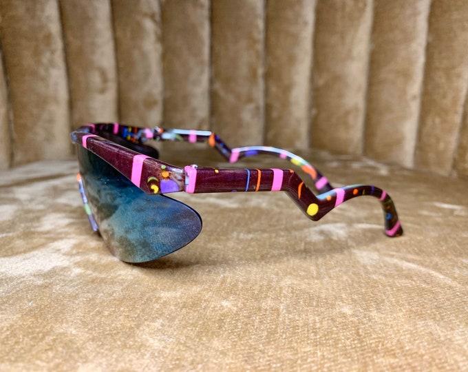 Vintage 90's Multicolored Mirrored Sports Goggles Sunglasses