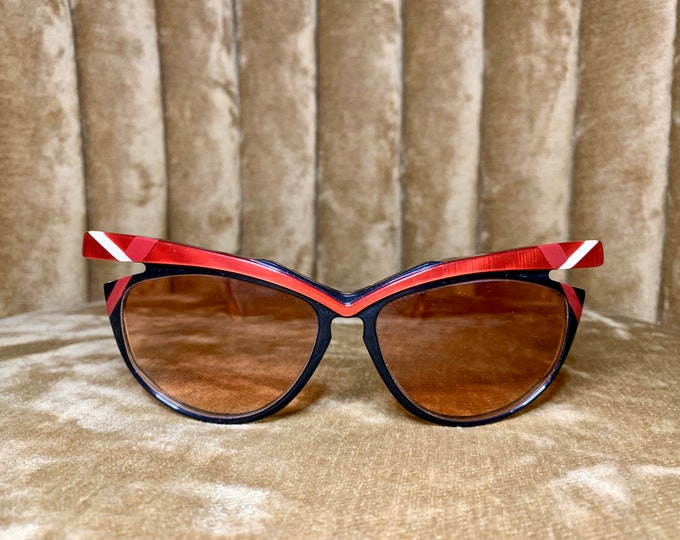 Vintage 80's NOS Duschan Red and Blue Cateye Cutout Sunglasses
