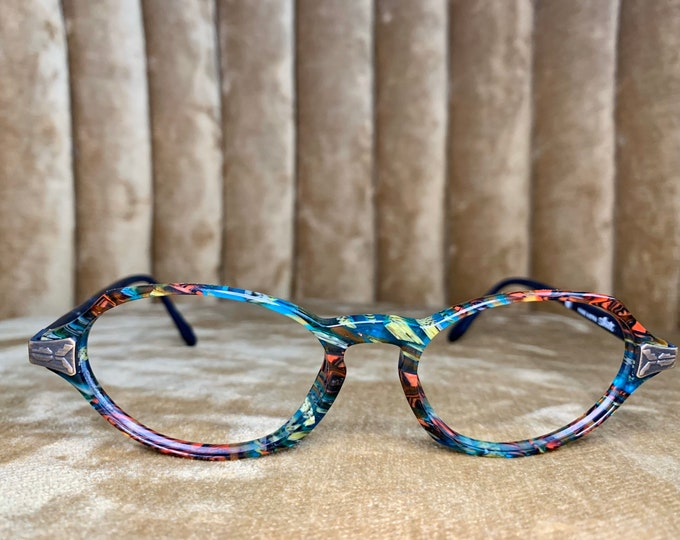 Vintage 80's Silhouette Bright Multicolor Brass Embellished Glasses Frames