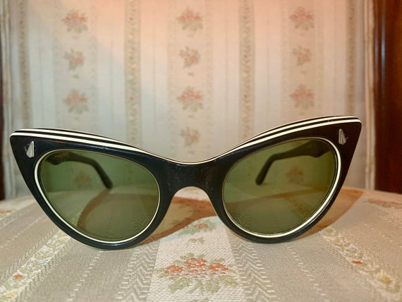 Vintage 50's Black and White Swank Striped Cateye Glasses/Frames