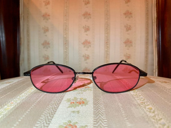 Vintage 90's Black Braided Frame Rose Colored Sunglasses