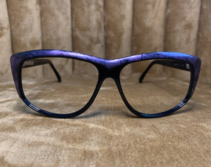 Vintage 80's Purple and Black Emilio Pucci Logo Glasses Frames