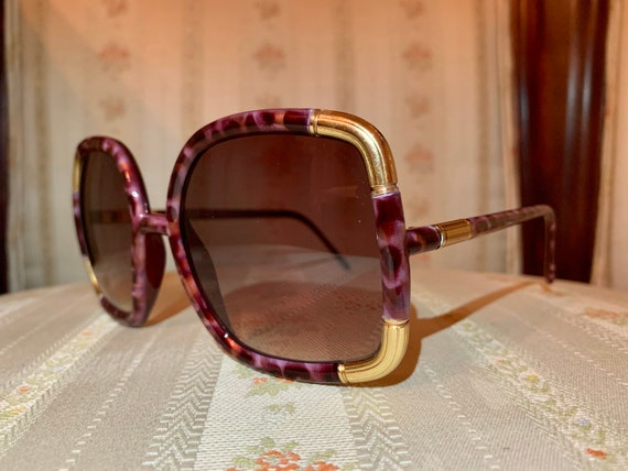 Vintage 70's Ted Lapidus NOS RARE Brown Maroon Marble and Gold Sunglasses