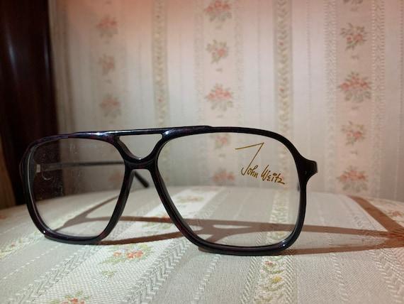 Vintage 80's John Weitz Dark Burgundy Tortoise Shell Aviator Glasses Frames