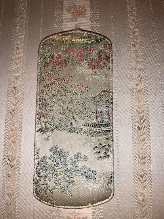 Vintage 60's Chinese Silk Pattern Eyeglass Case