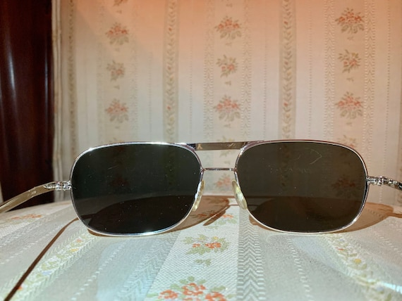Vintage 80's Silver Wide Framed Mirrored Aviator … - image 6