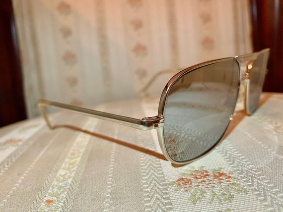 Vintage 80's Silver Wide Framed Mirrored Aviator … - image 7