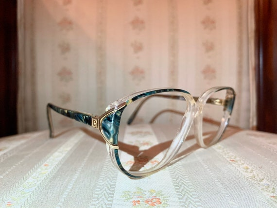 Vintage 80's Pierre Cardin Gold and Green Abalone Glasses/Frames