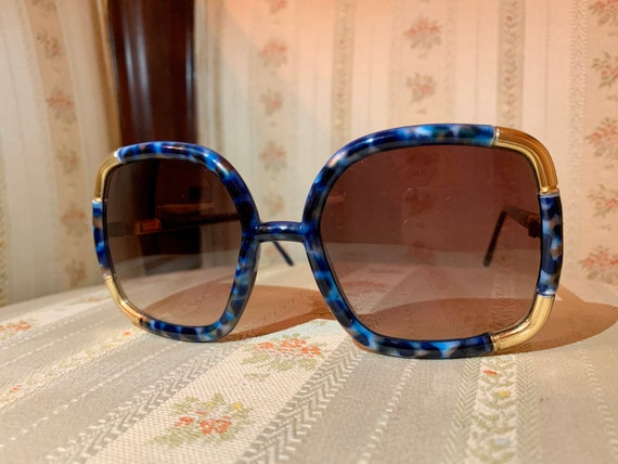 Vintage 70's Ted Lapidus NOS RARE Blue Marble and Gold Sunglasses