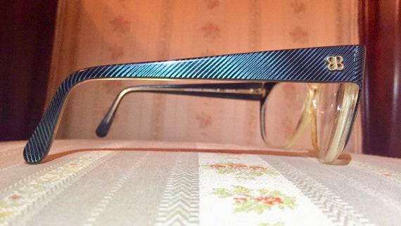 Vintage 80's Balenciaga Teal Abalone Mother of Pearl Rhinestone Logo Glasses