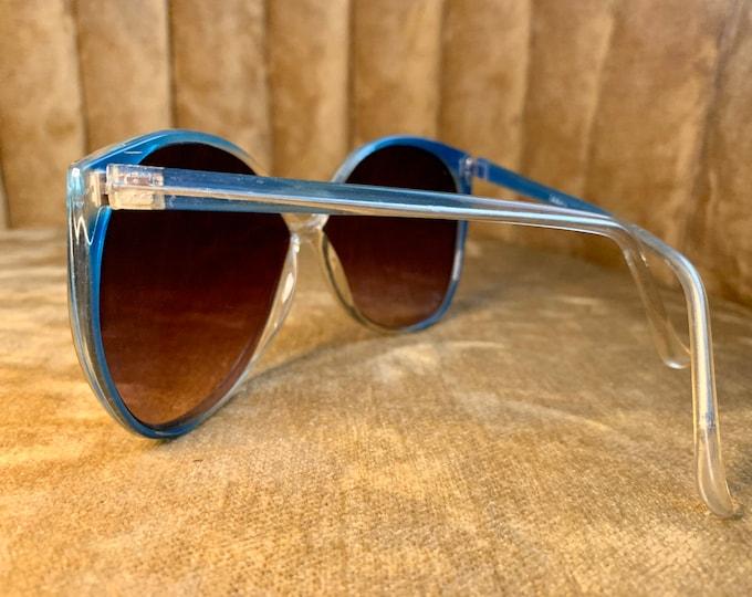 Vintage 80's Blue Clear Acetate Sunglasses