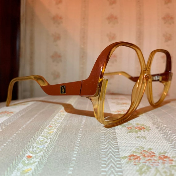 Vintage 70's Playboy Optyl Brown Amber Drop Arm Glasses Frames.