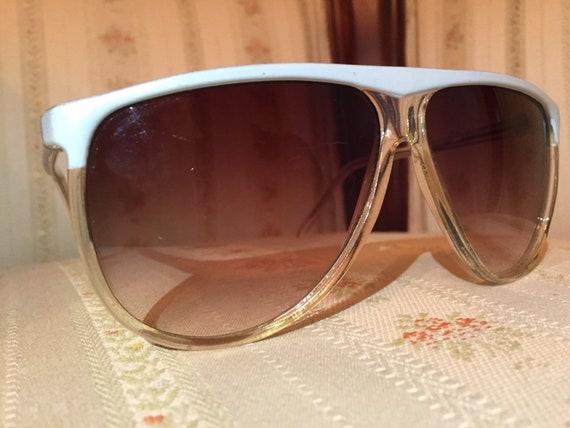 Vintage 80's White Brow Aviator Sunglasses