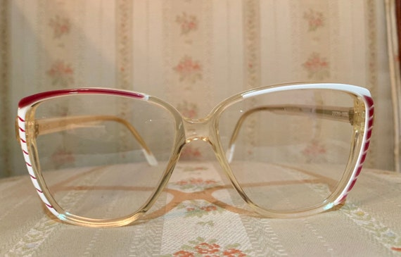 Vintage 70's Balenciaga Runway Red and White NOS Logo Glasses/Frames Handmade in France