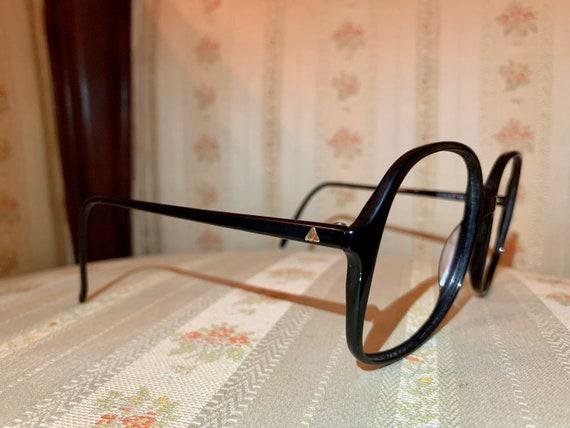 Vintage 1980's Liz Claiborne Black Gold Pyramid Logo Frames/Glasses