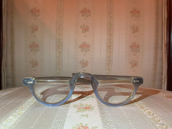 Vintage 50's French Light Blue Small Half Moon Reading Glasses Frames