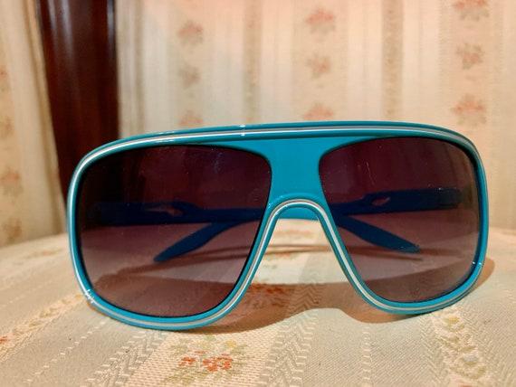 Vintage 80's Turquoise Aviator Sunglasses - image 4