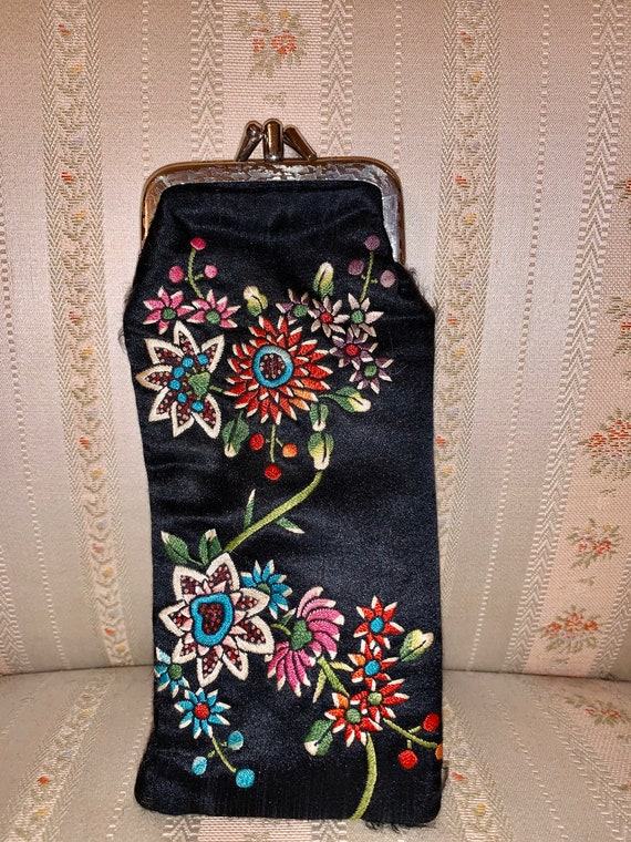 Vintage 80's Black Embroidered Floral Eyeglass Case