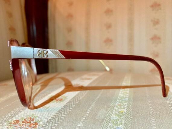 Vintage 80's Balenciaga Maroon and Silver Logo Glasses/Frames