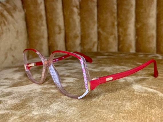 Vintage 80's Silhouette Red and White Gold Logo Glasses/Frames