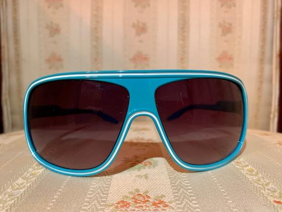 Vintage 80's Turquoise Aviator Sunglasses - image 2