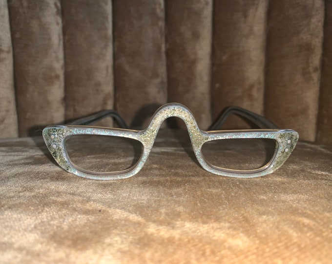 Vintage 50's Comet USA Gold Speckled High Bridged Glasses Frames