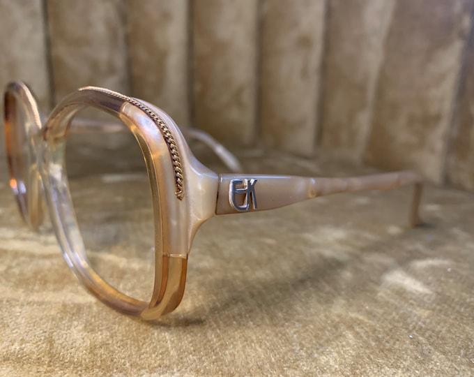 Vintage 70's Emanuelle Kahnh Abalone Detailed Glasses Frames