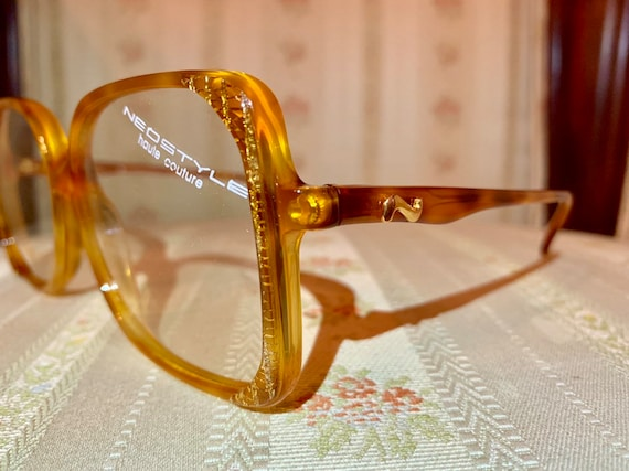 Vintage 70's NOS Neostyle Brown Amber and Gold Haute Couture Glasses/Frames