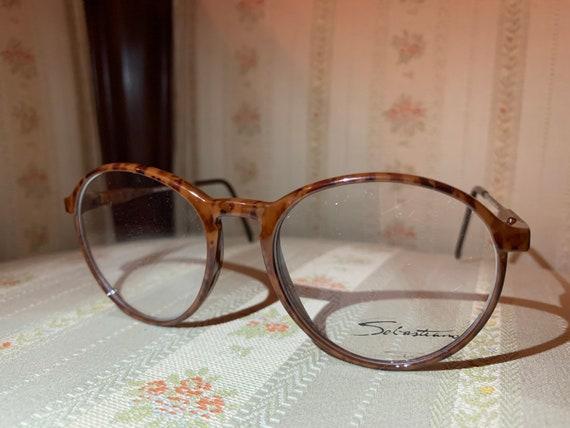 Vintage 80's Sebastian Round Wood Grain Tortoise Shell Glasses Frames