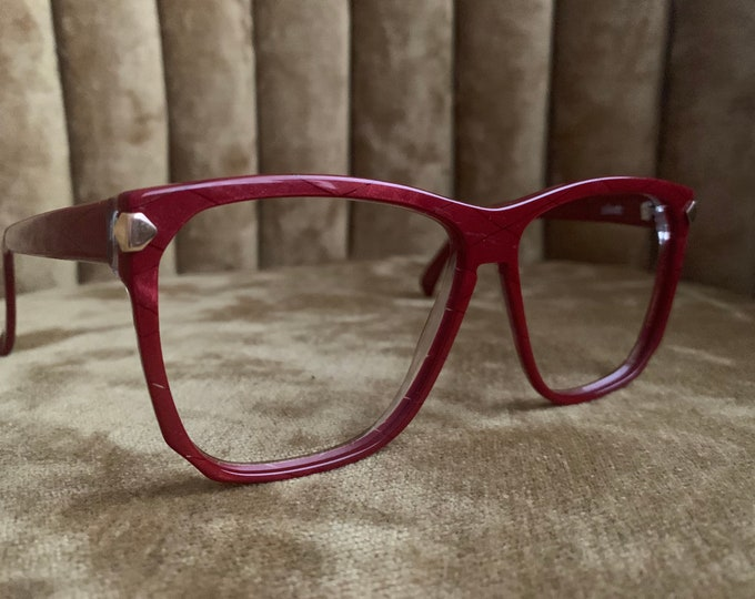 Vintage 80's Silhouette Red and Gold Glasses Frames
