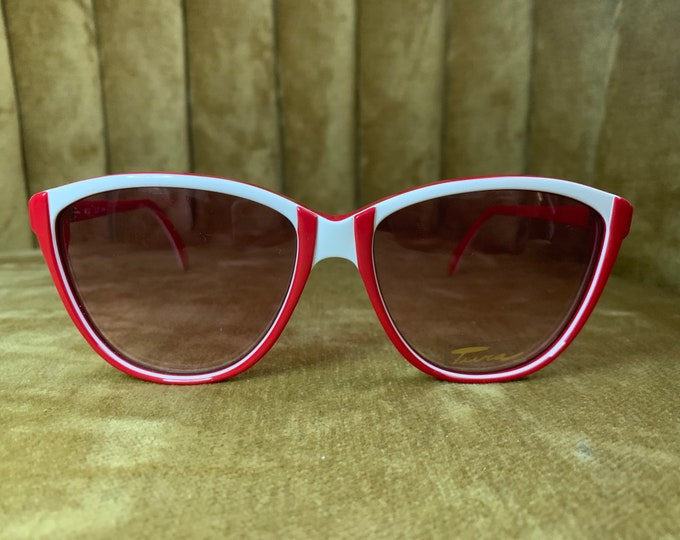 Vintage 80's NOS Tura Red and White Cateye Sunglasses