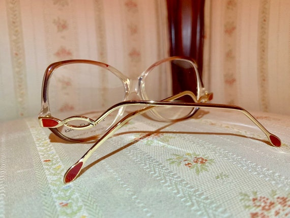 Vintage 70's NOS Design Classics Drop Arm Gold and Red Glasses/Frames