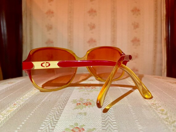 Vintage 80's Christian Dior Red and Gold Rose colored Sunglasses