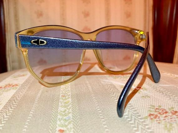 Vintage 80's Christisn Dior Iridescent Blue and Amber Logo Sunglasses
