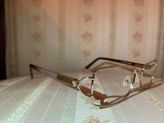 Vintage 80's Embellished French Design Gold Glasses Frames