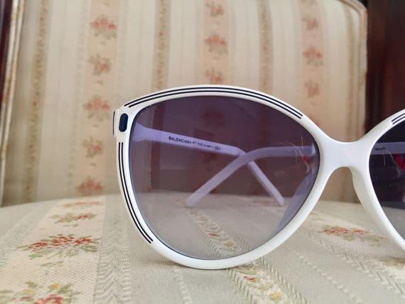 Vintage 80's Balenciaga NOS White and Blue Logo Sunglasses
