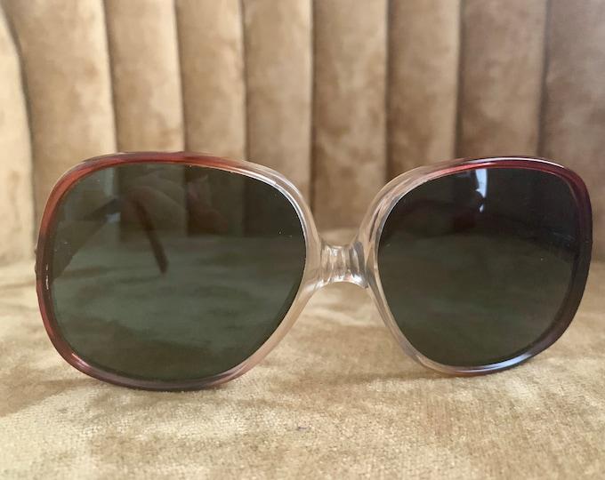 Vintage 80's Brown Red Gradient Sunglasses