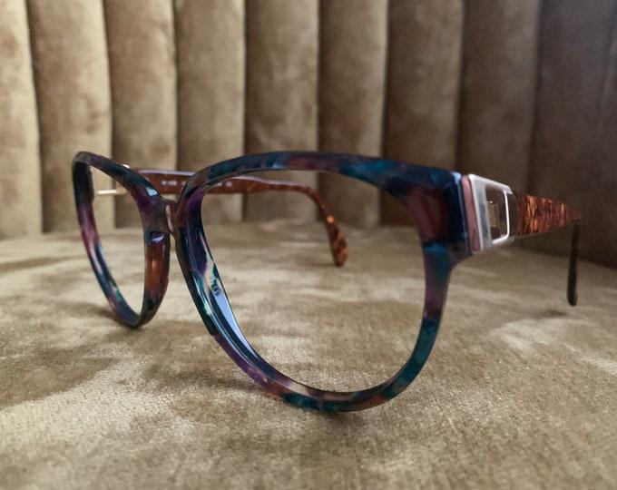 Vintage 80's Silhouette Multicolor Gold Embellished Glasses Frames