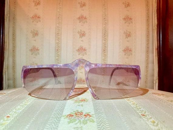 Vintage 80's NOS Rodenstock Transparent Purple Half Rim Sunglasses