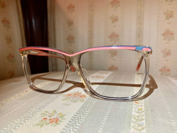 Vintage 80's NOS Safilo Elasta Pink Blue Striped Glasses/Frames