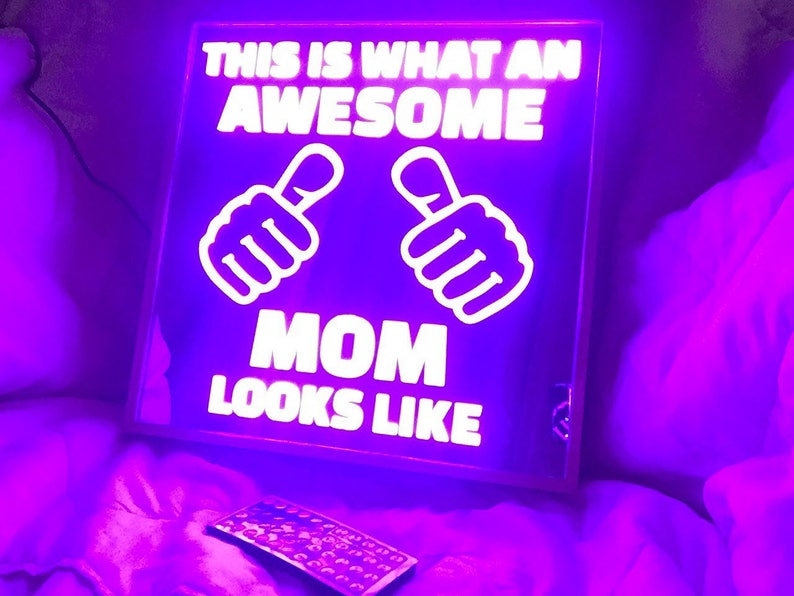 24X24 Mothers Day Remote Controlled color changing LED lit mirror in Pink light box