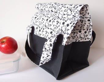 Lunch bag en jean - sac à repas - Fleuri noir et blanc - sac tissu à anses et pression