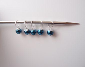 Anneaux marqueurs pour tricot et crochet -  Lot de 5 - perles bleu foncé marine nacrées - anneau marqueur maille