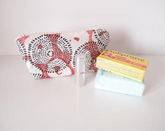 Mini trousse de sac - motif etnic - rouge terre noir et écru - Petite trousse pour maquillage, mouchoirs, medicament