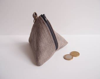 Berlingot zippé Homme mixte - Petite trousse pyramide triangulaire - porte monnaie - cadeau homme