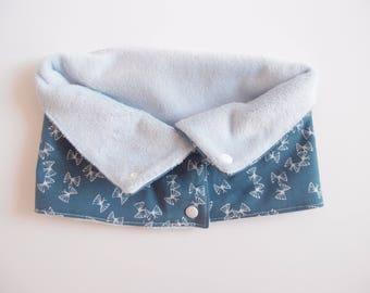 Tour de cou - snood - bleu pétrol et papillons blancs - enfant 6-12ans - coton et polaire doudou - à pressions