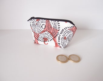 Porte-monnaie - écru rouge  noir - motif etnic - trousse anneaux marqueurs, à bijoux