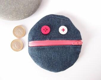 Porte-monnaie rond bonhomme - en jean bleu et rose - porte monnaie rigolo - porte monnaie enfant