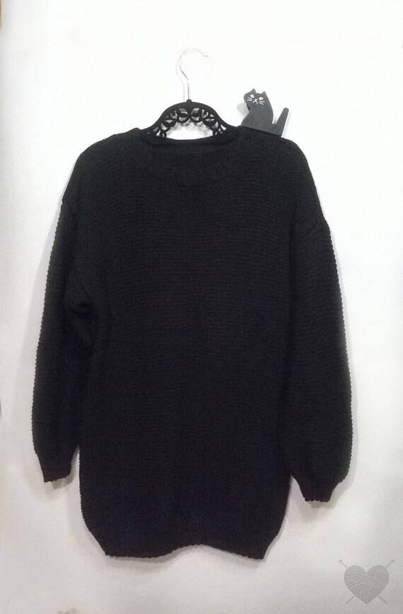 suéter negro. suéter de gran tamaño. suéter de Tumblr. lana   Etsy